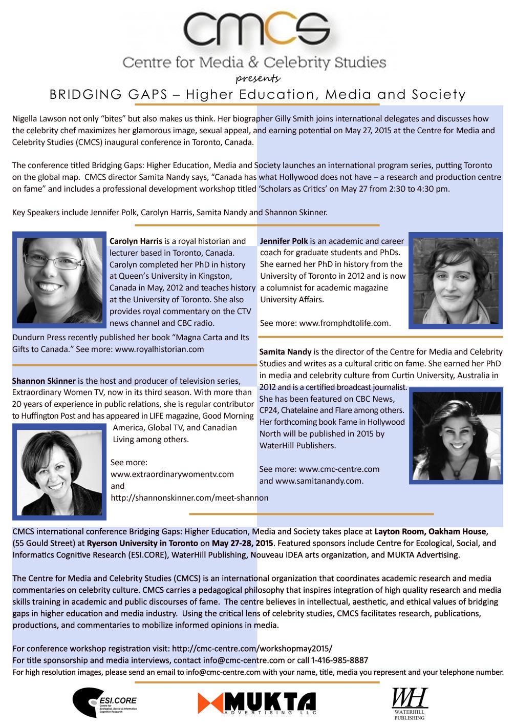CMCS Press Release – Toronto 2015 | CMCS